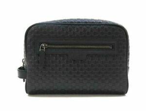 Gucci Mens Wash Bag Toiletry Case Leather Microguccissima Black