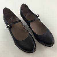 Dansko Womens Dark Blue Leather Wedge Mary Jane Buckle Strap Shoes Sz 38 US 7.5