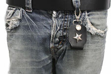 Men Silver Key Chain Ring Cowboy Holder Texas Star Clasp Hook Black Faux Leather