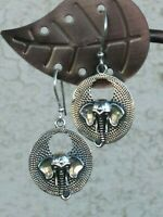 Artisan Crafted Elephant Dangle Earrings Sterling Silver Detailed