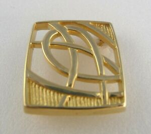 Scottish Ola Gorie Orkney 9ct Yellow Gold Scotia Brooch Celtic Knot