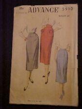 Vintage Advance Lady's SLIM Skirt Pattern w/ Unique Pocket Option 5910