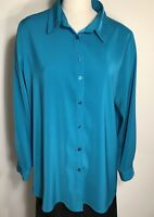 Susan Graver shirt turquoise stretch peachskin button down size L