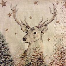paper napkins decoupage x 2 Christmas deer 25cm