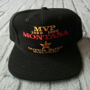 Vintage New Joe Montana MVP Super Bowl Snapback Hat San Francisco 49ers