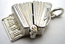 Sterling 925 British Silver Accordion Music Charm Opens to Monkey + Split Ring