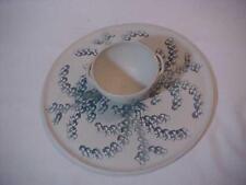 Vermont Pottery Roman Chip & Dip Spread & Crackers Platter Bowl Gray Blue Sponge