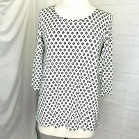 J. Jill Wearever PS S/P Tunic Top White Black Print 3/4 Sleeve Hi Low Hem #W