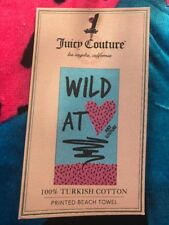 Juicy Couture Beach Towel Pink & Blue Wild At Heart Turkish Cotton Velour 34x64