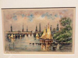 Ferdinand Hopner ( 1882 - 1967 ) watercolour painting Hamburg from Alster river