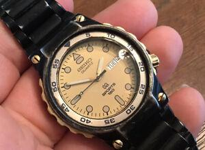 Beautiful Vtg Seiko Quartz Men Diver Watch Sport 150 5H23-6379 Black Gold Tone