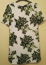 WAREHOUSE Ladies Chiffon Sheer Summer Floral Midi Dress White Lime Black Size 12