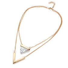 Hot Charm Double Chain Gold Plated Triangle Turquoise V Shaped Pendant Necklace