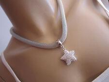 Damen Collier Hals Kette kurz Modekette Kristall Stern Silber Statement N543