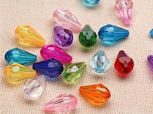 Craft DIY Mixed Colour Transparent Acrylic Faceted Teardrop Charm Beads