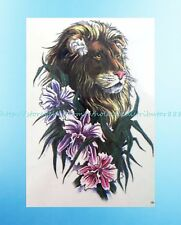 """Stocking Stuffing Ideas king lion flower 8.25""""extra large temporary arm tattoo"""