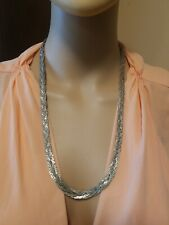 Made In Korea Silver Tone Necklace 4 Braided Chains