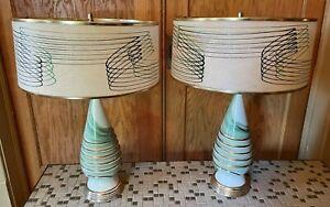MCM Table Lamps Green Spun Fiberglass Shades Vintage Ceramic Base Atomic Lights