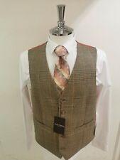 Brook Taverner Men/'s Pagoda Green Check Waistcoat Waistcoats