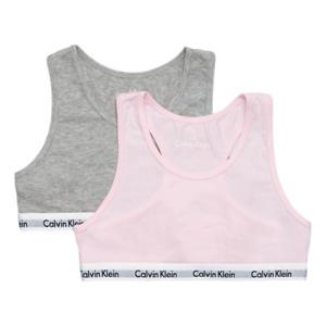Calvin Klein Girls 2 Pack Modern Cotton Bralette Grey / Pink