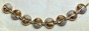 D'ORLAN Gold Tone Swirl Rhinestone Bracelet