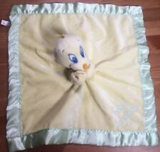 Baby Looney Tunes Tweety Bird Blanket Yellow Green Satin Security Lovey