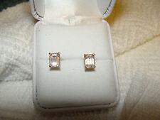 14k YG Cathedral Emerald cut CZ Earrings  1.8 grams