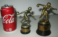 Two Vintage Womens 1940's Cast Iron Bowling Trophy's