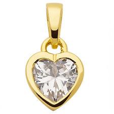 Frauen Mädchen weißer Zirkonia Herz Anhänger aus Echt Gold 333 (8 KT) Gelbgold