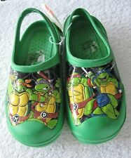 New Nickelodeon Teenage Mutant Ninja Turtles, green/characters clogs, sz L(2-3)