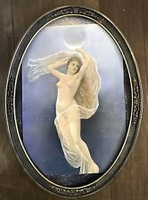ANTIQUE CONVEX BUBBLE GLASS VICTORIA FRAME NUDE GIRL PRINT STUNNING PICTURE