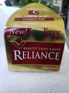 L'eggs Reliance Size C Control Top Enhance Toe Pantyhose Off Black 1996