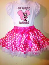 Minnie Mouse Tutu Dress NAME & number Pink  2 pc tutu 1T,2T,3T,4T,5T,6T,7T,8T