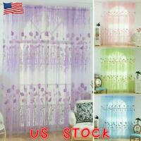 """US 39"""" 1/2 Panel Floral Sheer Voile Window Curtains Drape Tulle Scarf Room Decor"""