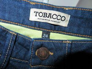 $330 TOBACCO Motorwear Women's Indigo Slim Skinny Kevlar Lined Riding Jeans 24