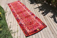 Antique Anatolian Runner 33''x110'' Herki Corridor Carpet Runner Hallway Rug