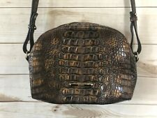 Brahmin Abby Leather Purse Melbourne Crocodile Embossed Crossbody Brown