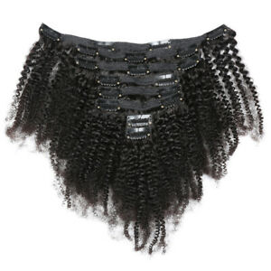 """18"""" Mongolian Kinky Curly Clip in 100% Human Hair Weft African Hair Extensions"""