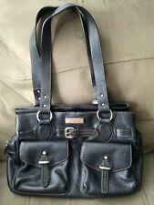 Leather AIGNER purse handbag shoulder bag BLACK