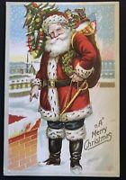 ~Patriotic Santa Claus ~American Flag~Sword~Ribbon~Toys Christmas Postcard-a401