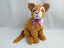 ACMI SITTING BROWN KITTY CAT PLASTIC PINK NOSE PURPLE RIBBON BOW SOFT PLUSH TOY
