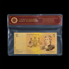 WR Colour Gold Australian $1 Bank Note 1967 Coombs-Randall Edition In COA Sleeve