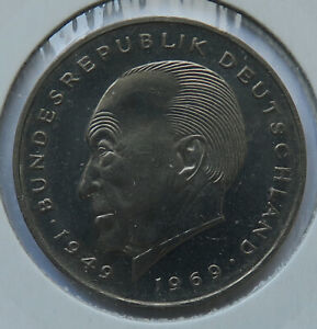 Federal Republic of Germany • 2 mark • 1969 G • Karlsruhe Mint • Uncirculated