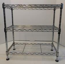 "3 TIER SILVER ADJUSTABLE UTILITY STORAGE SHELF 18.5"" TALL 17.5"" ACROSS 7.5"" WIDE"