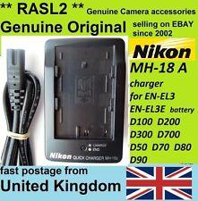 Genuino Original Cargador NIKON MH-18a EN-EL3e D50 D70 S, D80 D90 D200 D300 D700