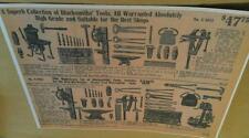 1911 Blacksmith Forge Drill Anvil Vise & Tool Set Ad $48 Poster Repo