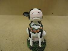 Topline Products Inc. Figurine Black/White/Green Bobbin Friend Cow Porcelain