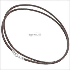 """18"""" Sterling Silver Brown Braided Cotton Wax Cord 2mm #51626"""