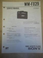 Sony Service Manual~WM-FX29 Walkman Radio Cassette Player~Original~Repair