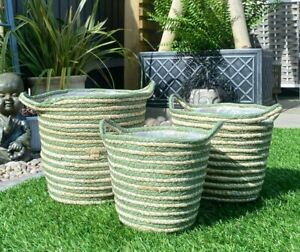 Woven Plant Basket Lined Planter Flower Pot Holder Natural & Green Scandi Style